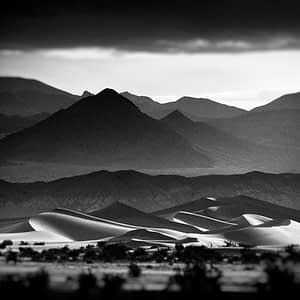 black & white photography of Death Valley sand dunes, CA. © Oliver Tollison