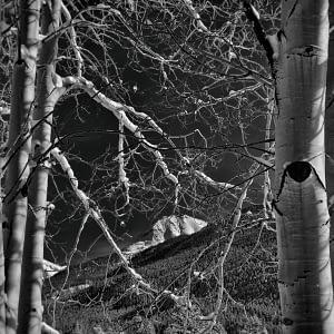black and white photo of snow in Silverton, Colorado
